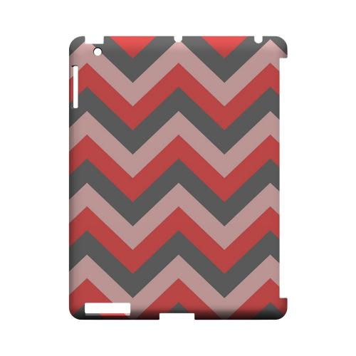 Red on Gray on Pink Geeks Designer Line Zig Zag Series Slim Hard Case for Apple iPad (3rd & 4th Gen.)