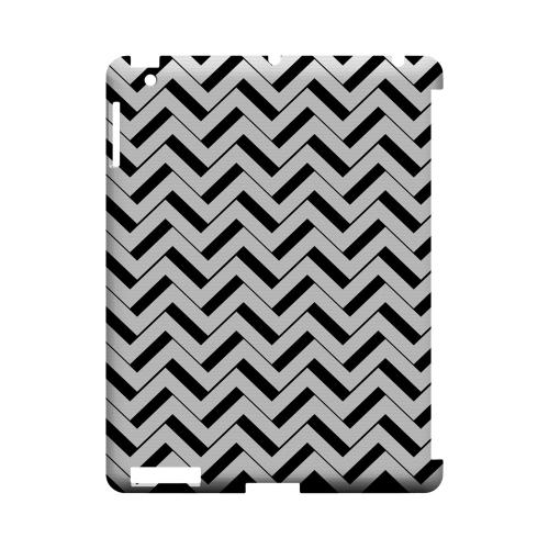 Black/ White 3D Geeks Designer Line Zig Zag Series Slim Hard Case for Apple iPad (3rd & 4th Gen.)