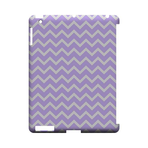 White on Light Purple Geeks Designer Line Zig Zag Series Slim Hard Case for Apple iPad (3rd & 4th Gen.)