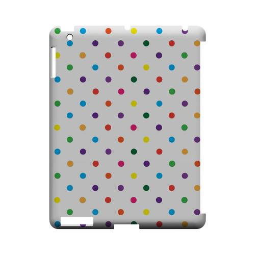 Small & Rainbow on White Geeks Designer Line Polka Dot Series Slim Hard Case for Apple iPad (3rd & 4th Gen.)