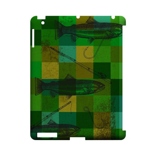 Green Plaid Trout Design - Geeks Designer Line (GDL) Fish Series Hard Back Cover for Apple iPad (3rd & 4th Gen.)