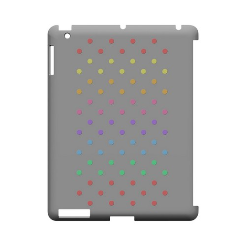 Rainbow Dots on Gray Geeks Designer Line Polka Dot Series Slim Hard Case for Apple iPad (3rd & 4th Gen.)