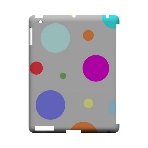 Random & Rainbow on Gray Geeks Designer Line Polka Dot Series Slim Hard Case for Apple iPad (3rd & 4th Gen.)
