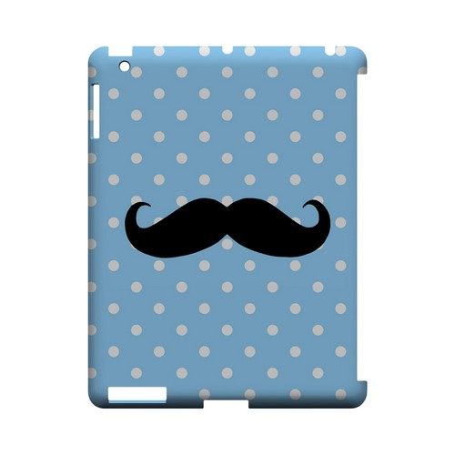 Stache on Sky Blue Geeks Designer Line Polka Dot Series Slim Hard Case for Apple iPad (3rd & 4th Gen.)