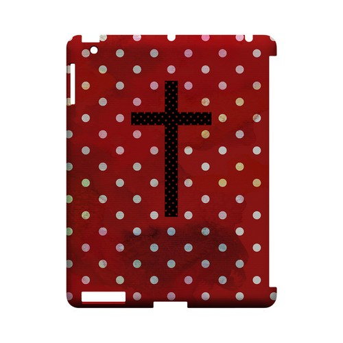 Stained Cross on Red Geeks Designer Line Polka Dot Series Slim Hard Case for Apple iPad (3rd & 4th Gen.)