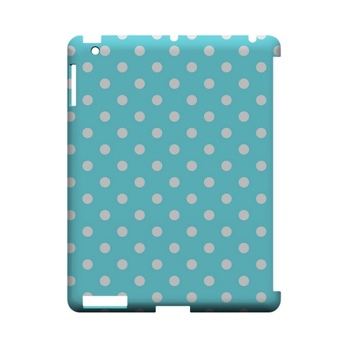 White Dots on Turquoise Geeks Designer Line Polka Dot Series Slim Hard Case for Apple iPad (3rd & 4th Gen.)