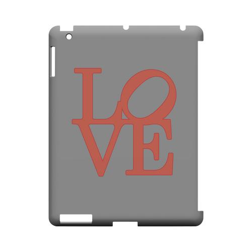 Pink Love on Gray Geeks Designer Line Heart Series Slim Hard Case for Apple iPad (3rd & 4th Gen.)