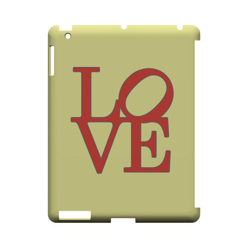 Red Love on Yellow Geeks Designer Line Heart Series Slim Hard Case for Apple iPad (3rd & 4th Gen.)