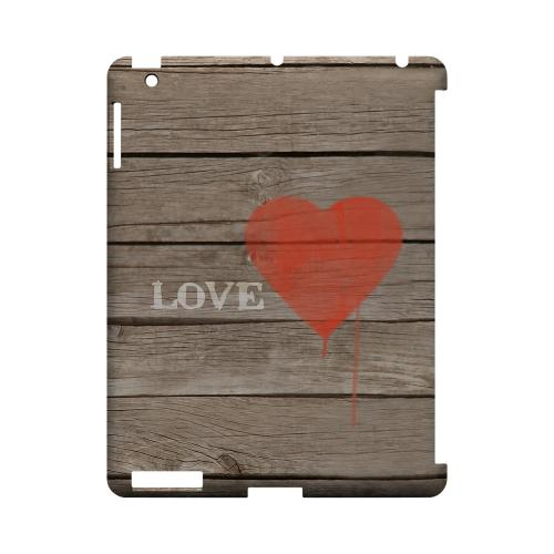 Rustic Love Geeks Designer Line Heart Series Slim Hard Case for Apple iPad (3rd & 4th Gen.)