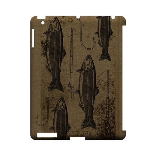 Vintage Salmon/Hook/Pole Print - Geeks Designer Line (GDL) Fish Series Hard Back Cover for Apple iPad (3rd & 4th Gen.)