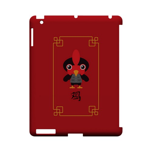 Chibi Rooster Geeks Designer Line Chinese Horoscope Series Slim Hard Case for Apple iPad (3rd & 4th Gen.)