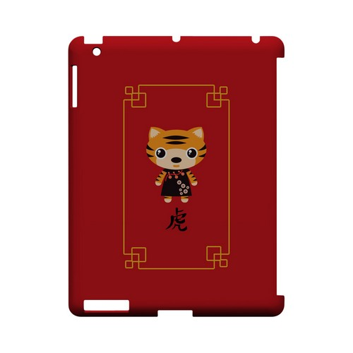 Chibi Tiger Geeks Designer Line Chinese Horoscope Series Slim Hard Case for Apple iPad (3rd & 4th Gen.)