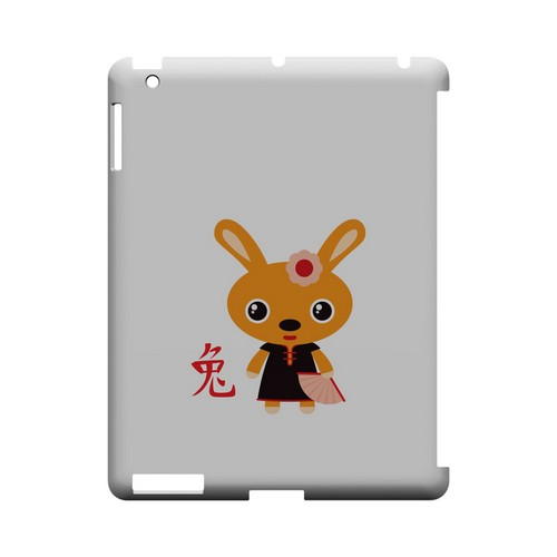 Rabbit on White Geeks Designer Line Chinese Horoscope Series Slim Hard Case for Apple iPad (3rd & 4th Gen.)