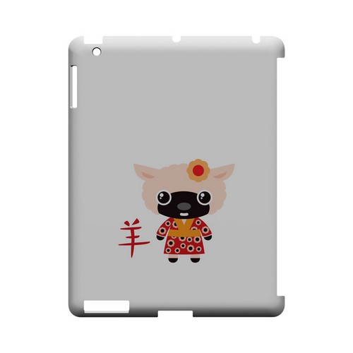 Sheep on White Geeks Designer Line Chinese Horoscope Series Slim Hard Case for Apple iPad (3rd & 4th Gen.)