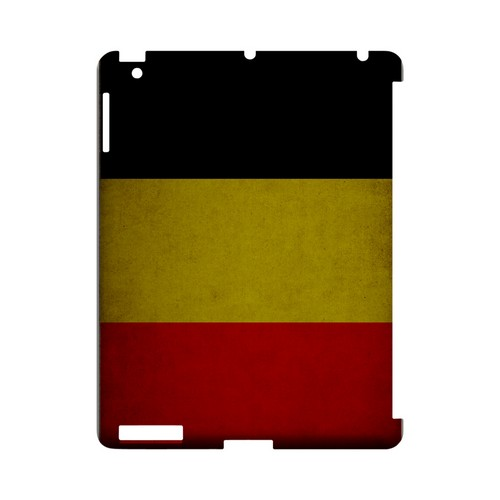 Grunge Belgium Geeks Designer Line Flag Series Slim Hard Case for Apple iPad (3rd & 4th Gen.)
