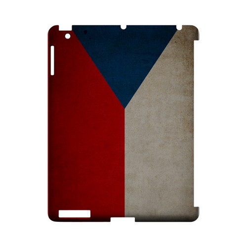 Grunge Czech Republic Geeks Designer Line Flag Series Slim Hard Case for Apple iPad (3rd & 4th Gen.)