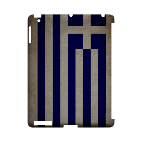 Grunge Greece Geeks Designer Line Flag Series Slim Hard Case for Apple iPad (3rd & 4th Gen.)