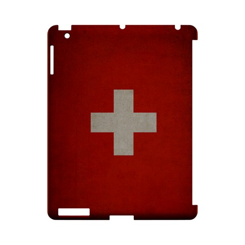 Grunge Switzerland Geeks Designer Line Flag Series Slim Hard Case for Apple iPad (3rd & 4th Gen.)