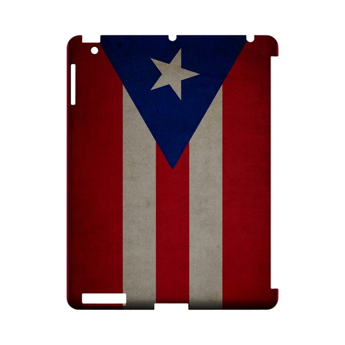 Grunge Puerto Rico Geeks Designer Line Flag Series Slim Hard Case for Apple iPad (3rd & 4th Gen.)