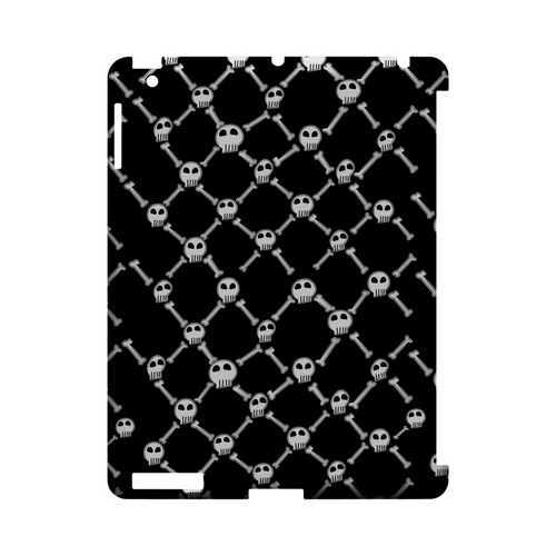 White Skull & Crossbones on Black - Geeks Designer Line (GDL) Monster Mash Series Hard Back Cover for Apple iPad (3rd & 4th Gen.)
