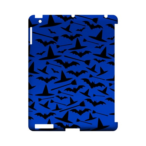 Witch Hat/Broom/Bat on Blue - Geeks Designer Line (GDL) Monster Mash Series Hard Back Cover for Apple iPad (3rd & 4th Gen.)