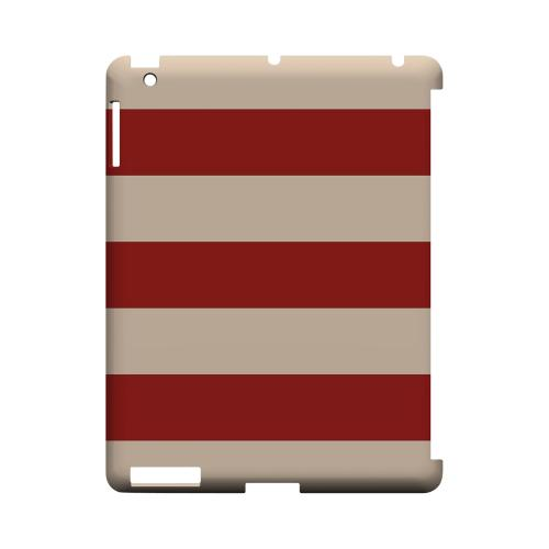 Linen Poppy Red - Geeks Designer Line Stripe Series Hard Case for Apple iPad (3rd & 4th Gen.)