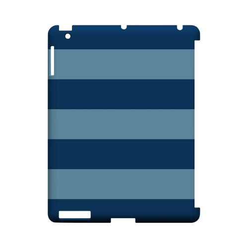 Monaco Blue/ Dusk Blue - Geeks Designer Line Stripe Series Hard Case for Apple iPad (3rd & 4th Gen.)