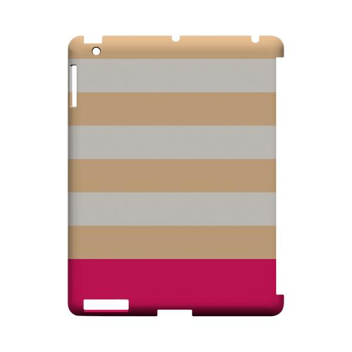 Pink Candy Stripes w/ Pink Bar - Geeks Designer Line Stripe Series Hard Case for Apple iPad (3rd & 4th Gen.)