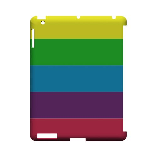 Rainbow Candy Stripes - Geeks Designer Line Stripe Series Hard Case for Apple iPad (3rd & 4th Gen.)