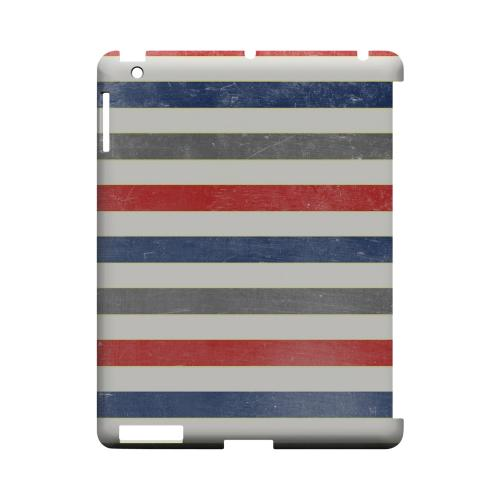 Stripey Blue/ Red - Geeks Designer Line Stripe Series Hard Case for Apple iPad (3rd & 4th Gen.)