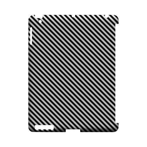 Thin Black/ White Diagonal - Geeks Designer Line Stripe Series Hard Case for Apple iPad (3rd & 4th Gen.)