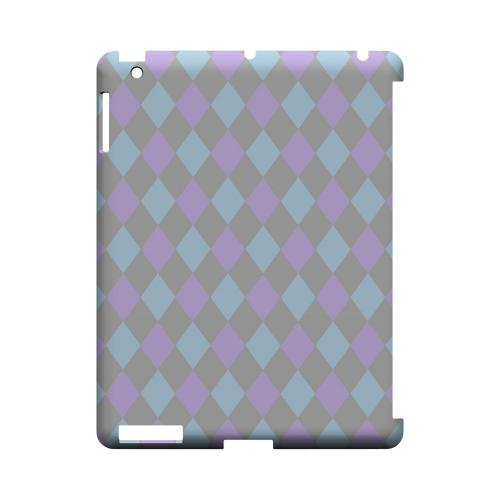 Gray/ Blue/ Purple Argyle - Geeks Designer Line Checker Series Hard Case for Apple iPad (3rd & 4th Gen.)