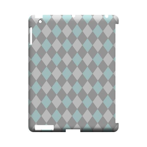 Pink/ Blue/ Gray Argyle - Geeks Designer Line Checker Series Hard Case for Apple iPad (3rd & 4th Gen.)