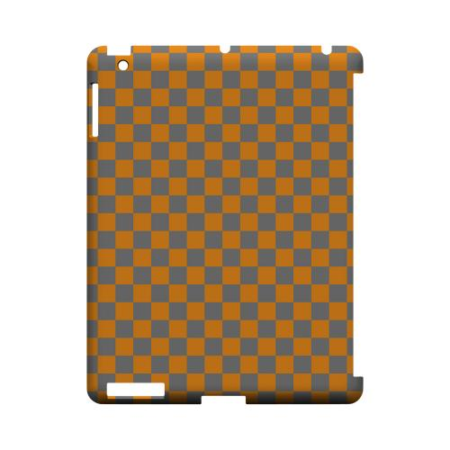Orange/ Gray - Geeks Designer Line Checker Series Hard Case for Apple iPad (3rd & 4th Gen.)