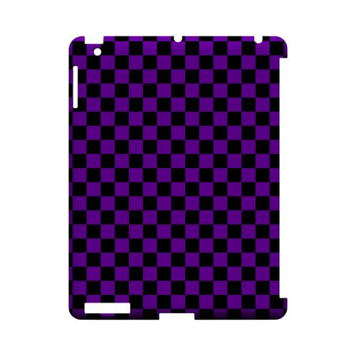 Purple/ Black - Geeks Designer Line Checker Series Hard Case for Apple iPad (3rd & 4th Gen.)