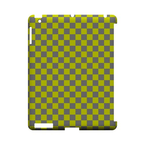 Yellow/ Gray - Geeks Designer Line Checker Series Hard Case for Apple iPad (3rd & 4th Gen.)