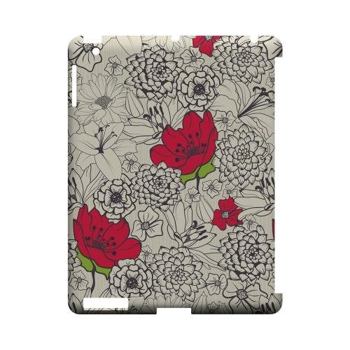 Flower Outline Red Accent - Geeks Designer Line Floral Series Hard Case for Apple iPad (3rd & 4th Gen.)