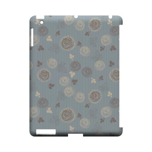Leaves Scribble Blue/ Brown - Geeks Designer Line Floral Series Hard Case for Apple iPad (3rd & 4th Gen.)