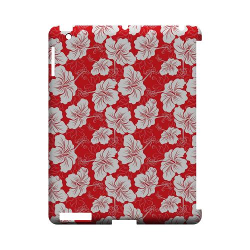 White Hibiscus on Red - Geeks Designer Line Floral Series Hard Case for Apple iPad (3rd & 4th Gen.)