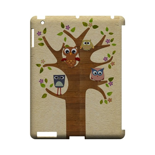 Owls on Brown Tree - Geeks Designer Line (GDL) Owl Series Hard Back Cover for Apple iPad (3rd & 4th Gen.)