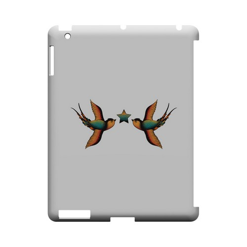 Dual Swallow Star on White - Geeks Designer Line Tattoo Series Hard Case for Apple iPad (3rd & 4th Gen.)