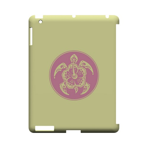 Pink Island Turtle Solo on Yellow - Geeks Designer Line Tattoo Series Hard Case for Apple iPad (3rd & 4th Gen.)