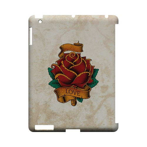 Love Rose - Geeks Designer Line Tattoo Series Hard Case for Apple iPad (3rd & 4th Gen.)