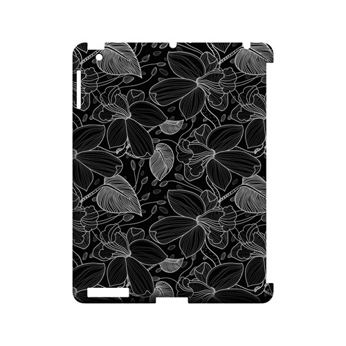 White on Black Orchid Lines - Geeks Designer Line Floral Series Hard Case for Apple iPad (3rd & 4th Gen.)