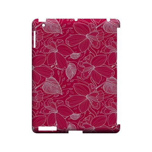 White on Pink Orchid Lines - Geeks Designer Line Floral Series Hard Case for Apple iPad (3rd & 4th Gen.)