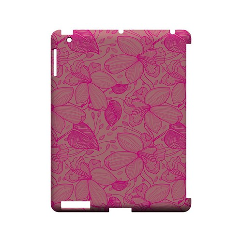 Pink on Pink Orchid Lines - Geeks Designer Line Floral Series Hard Case for Apple iPad (3rd & 4th Gen.)