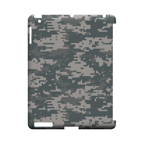 Gray Digital Camouflage - Geeks Designer Line Slim Back Cover for Apple iPad (3rd & 4th Gen.)