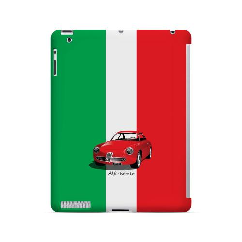 Red Alfa Romeo on Green/ White/ Red - Geeks Designer Line Auto Series Hard Case for Apple iPad (3rd & 4th Gen.)