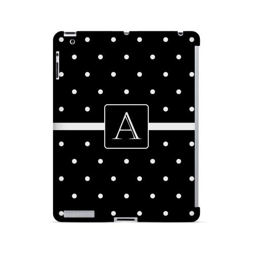 A on Classic Mini Polka Dots - Geeks Designer Line Monogram Series Hard Case for Apple iPad (3rd & 4th Gen.)