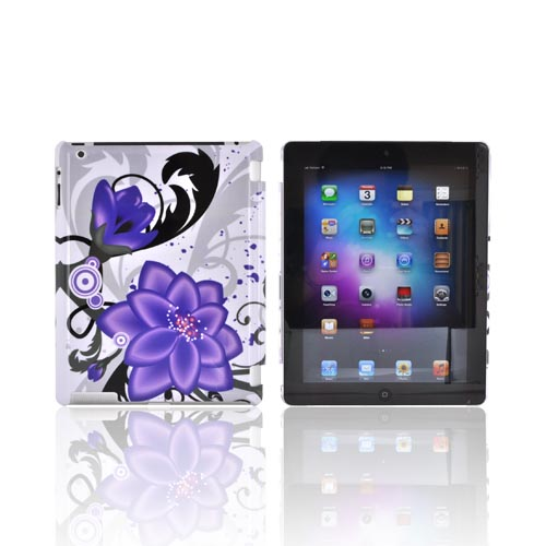Apple New iPad (3rd Gen.) Hard Case - Purple Lily on White (Works with Smart Cover!)